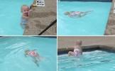 Imagini INCREDIBILE! Un bebeluş parcurge o lăţime de bazin, fără să respire. Micuţa înoată sub apă ...